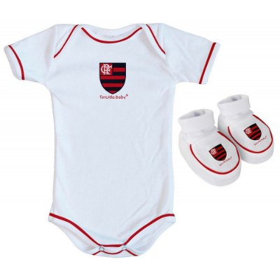 Body e Pantufa Flamengo Branco Torcida Baby