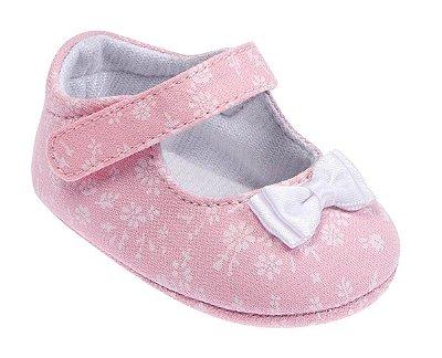 Sapatinho Bebê Floral Rosa Pimpolho