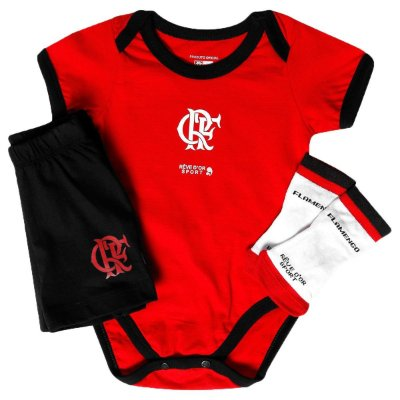 Kit Bebê Flamengo Body Shorts e Meia Oficial