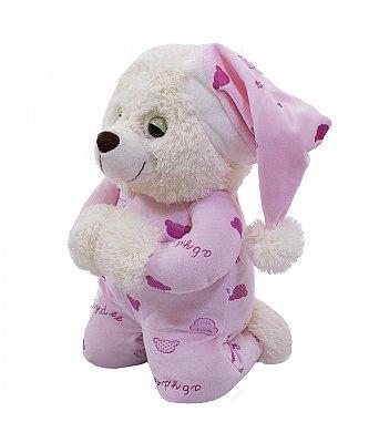 Ursinha Pelúcia Que Reza Pijama Rosa 30cm