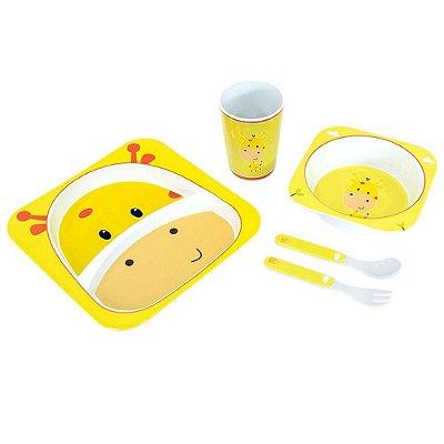 Kit Alimentação Para Bebês 5 Pçs Girafinha Unik