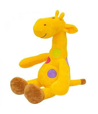 Pelúcia Girafa Amarela Pintas Coloridas 37cm