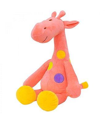 Pelúcia Girafa Rosa Pintas Coloridas 37cm