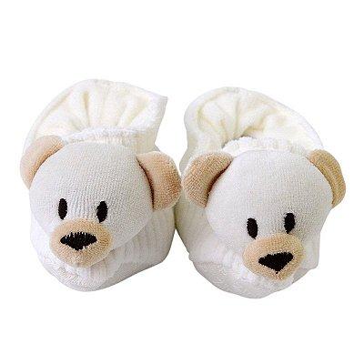 Pantufa Bebê Urso Marfim em Cotelê Zip
