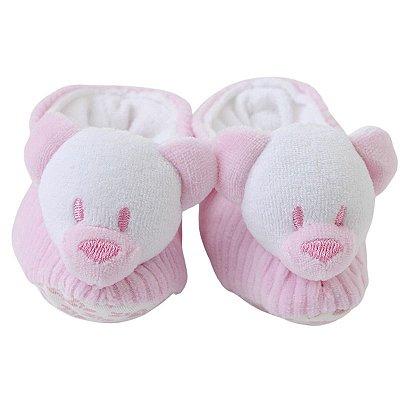 Pantufa Bebê Urso Rosa em Cotelê Zip