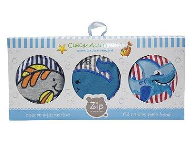 Kit Cuecas Para Bebê Aquamarine com 3 Peças Zip