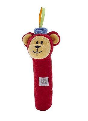 Chocalho Pelúcia Tuby Circo Urso Vermelho Zip