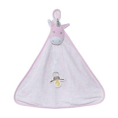 Naninha Bebê Cetim Unicórnio Branco Zip