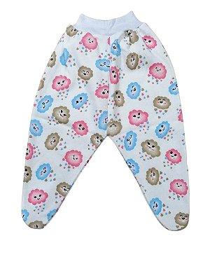 Calça Bebê em Malha Rosa Creme ou Azul Pé Fechado