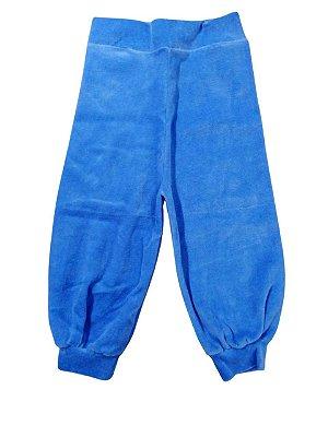 Calça Bebê em Plush Azul Branco ou Marinho Pé Aberto