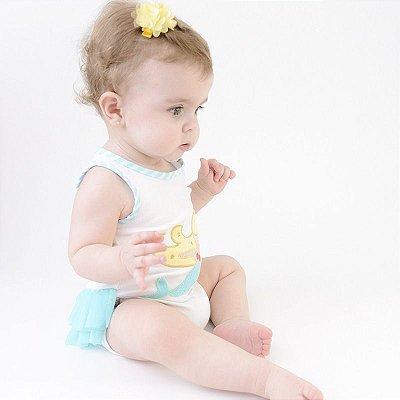 Body Bebê Sereia Alana Manga Curta - Zip
