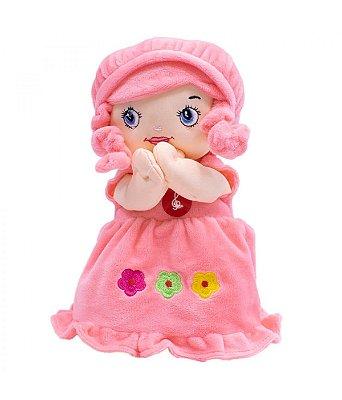 Boneca De Pano Que Reza Vestido Rosa 24cm