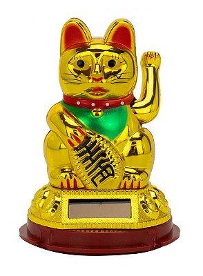 Gato Da Sorte Plástico Dourado 8.5cm