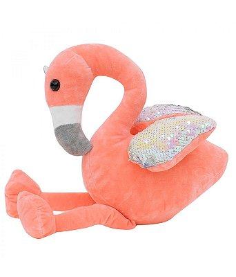 Pelúcia Flamingo Rosa Asas Lantejoulas 28cm