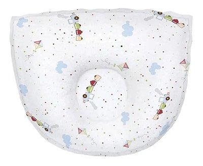Travesseiro Bebê Anatômico Estampado Branco - Papi