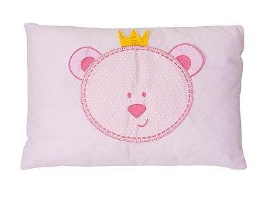 Travesseiro Bebê Bordado Urso Rosa - Papi