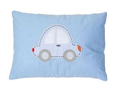 Travesseiro Bebê Bordado Carrinho Azul - Papi