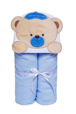 Toalha De Banho Felpuda Ursinho Azul Com Capuz - Papi