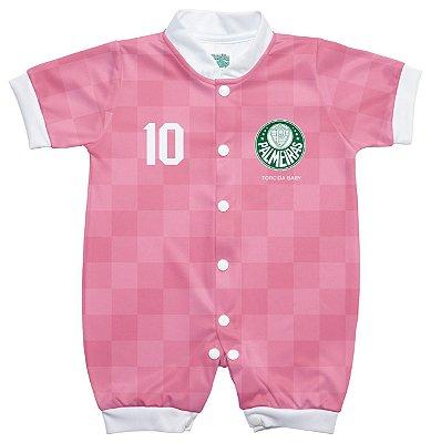 Macacão Bebê Palmeiras Curto Rosa - Torcida Baby