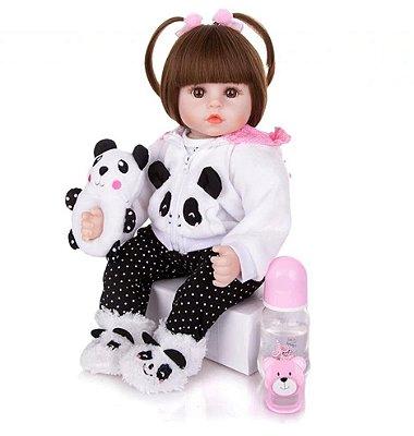 Boneca Bebê Reborn Betina Pandinha 47cm