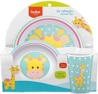 Kit Refeição Infantil Animal Fun Girafa Buba