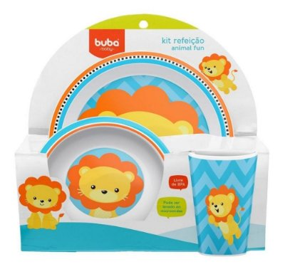 Kit Refeição Infantil Animal Fun Leão Buba