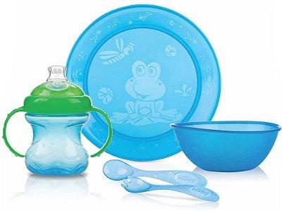 Kit Alimentação Infantil Com 5 Pçs Azul Nuby