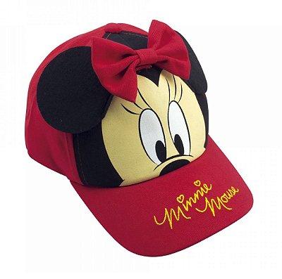 Boné Infantil Vermelho Orelhas e Laço Minnie - Disney