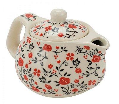 Bule Em Porcelana Para Chá Com Infusor Floral  250ml