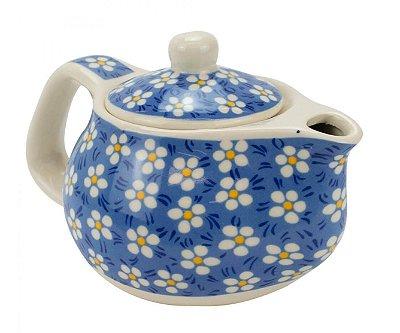 Bule Em Porcelana Para Chá Com Infusor Floral Azul 250ml
