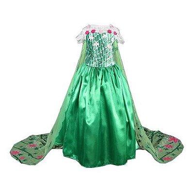 Vestido Fantasia Rainha Elsa Frozen Verde