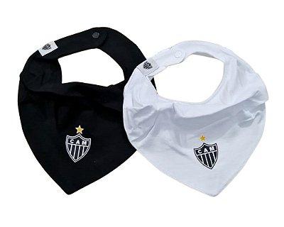 Kit Babador Bandana Atlético MG Preto e Branco Oficial
