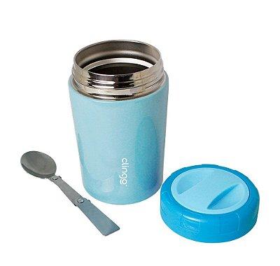 Pote Térmico Com Colher Inox Azul - Clingo