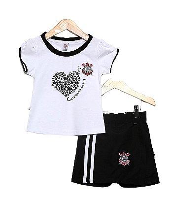Conjunto Infantil Corinthians Short Saia Oficial