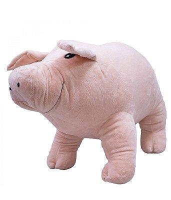Porquinho de Pelúcia Em Pé Rosa 25 cm