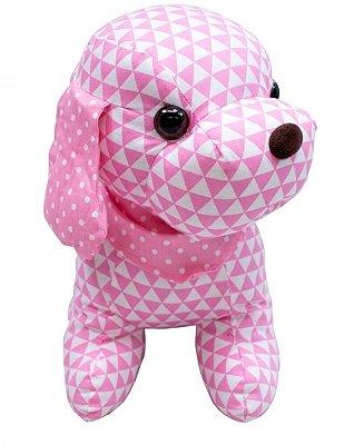 Pelúcia Cachorro de Pano Trinâgulo Rosa 29cm