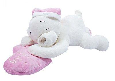 Pelúcia Ursinho Soneca no Coração Rosa 46cm