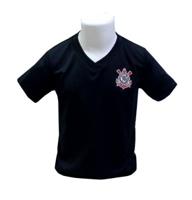 Camiseta Corinthians Infantil Preta Gola V Oficial
