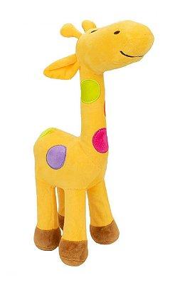 Pelúcia Girafa Amarela Com Pintas Coloridas 34 cm
