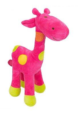 Pelúcia Girafa Rosa Com Pintas Coloridas 34cm