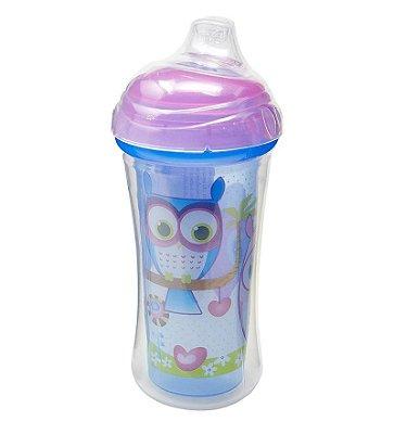Copo Infantil Térmico Bico Silicone Roxo 270ml Nuby