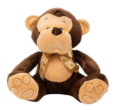 Pelúcia Macaco Sentado Laço 25 cm