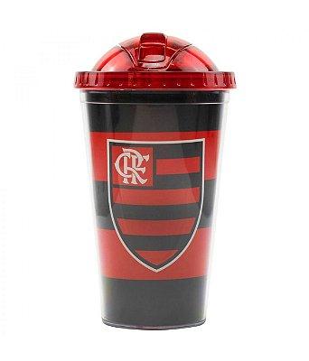 Copo Flamengo de Plástico Com Canudo 450ml Oficial