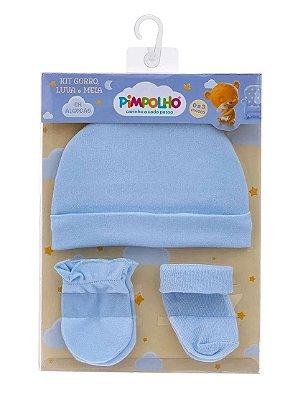 Kit Bebê 3 Pçs Touca Luva e Meia Azul Pimpolho