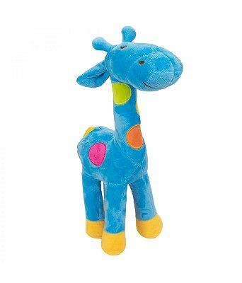 Pelúcia Girafa Azul Com Pintas Coloridas 34 cm