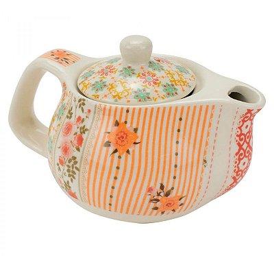 Bule de Chá Em Porcelana Com Infusor Flor 250ml