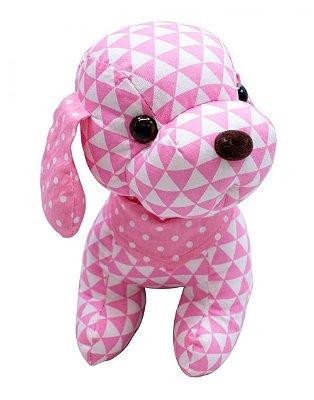 Pelúcia Cachorro de Pano Triângulo Rosa 22cm