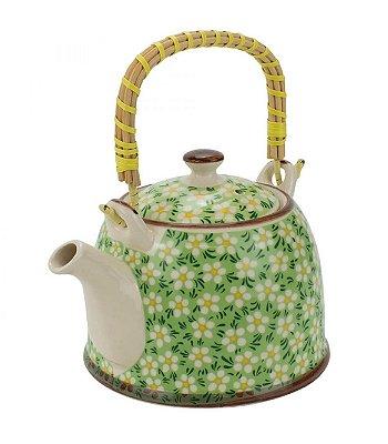 Bule Em Porcelana Para Chá Com Infusor Verde 750ml