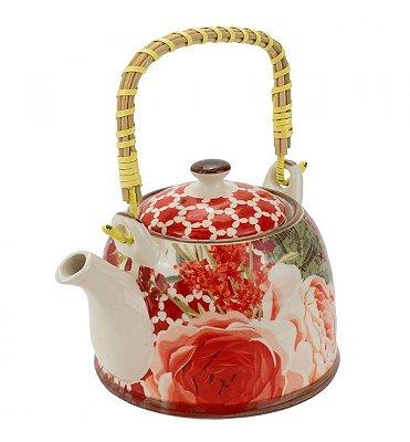 Bule Em Porcelana Para Chá Com Infusor Rosa 750ml