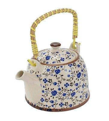 Bule Em Porcelana Para Chá Com Infusor Flores Azul 750ml